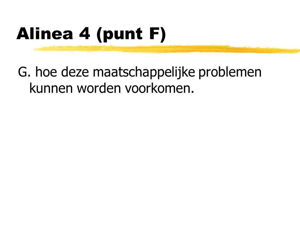 Alinea 4 (punt F) G. hoe deze maatschappelijke problemen kunnen worden voorkomen.