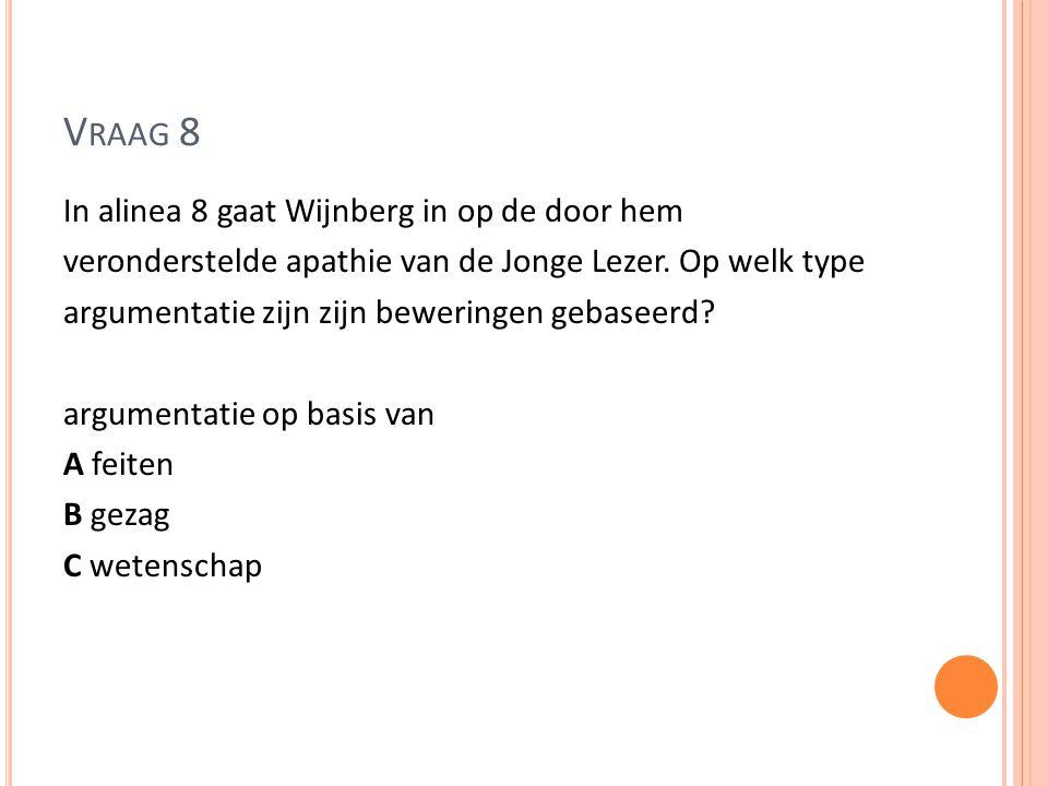V RAAG 8 In alinea 8 gaat Wijnberg in op de door hem veronderstelde apathie van de Jonge Lezer. Op welk type argumentatie zijn zijn beweringen gebasee