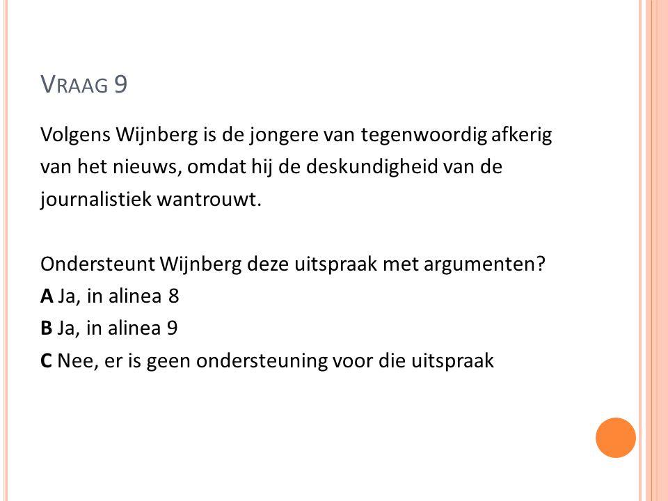 V RAAG 9 Volgens Wijnberg is de jongere van tegenwoordig afkerig van het nieuws, omdat hij de deskundigheid van de journalistiek wantrouwt. Ondersteun