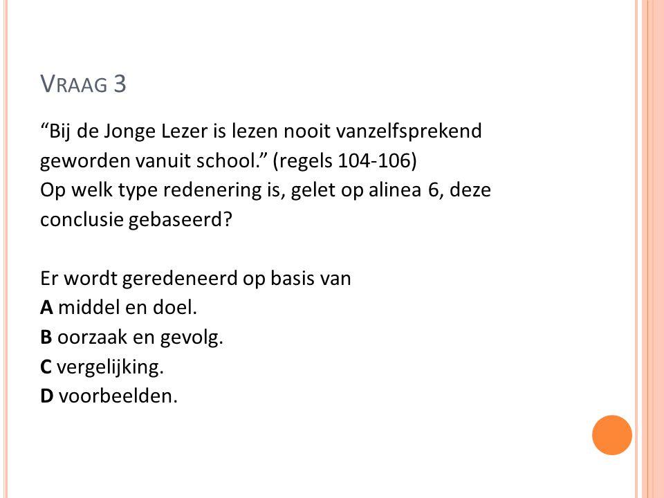 V RAAG 8 - ANTWOORD Wijnberg is zelf een Jonge Lezer, zijn argumenten berusten dus op zijn eigen kennis, dus op gezag.