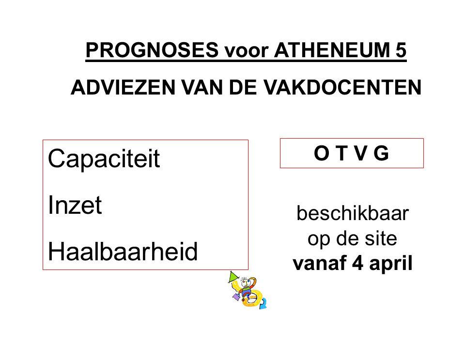 PROGNOSES voor ATHENEUM 5 ADVIEZEN VAN DE VAKDOCENTEN Capaciteit Inzet Haalbaarheid O T V G beschikbaar op de site vanaf 4 april