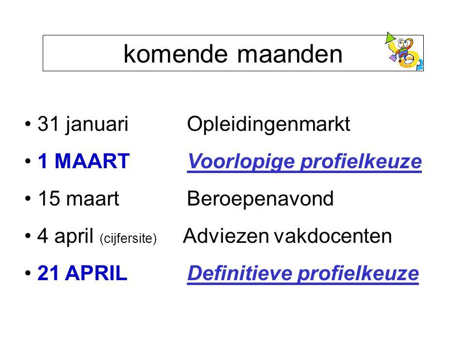 komende maanden 31 januari Opleidingenmarkt 1 MAART Voorlopige profielkeuze 15 maart Beroepenavond 4 april (cijfersite) Adviezen vakdocenten 21 APRIL Definitieve profielkeuze