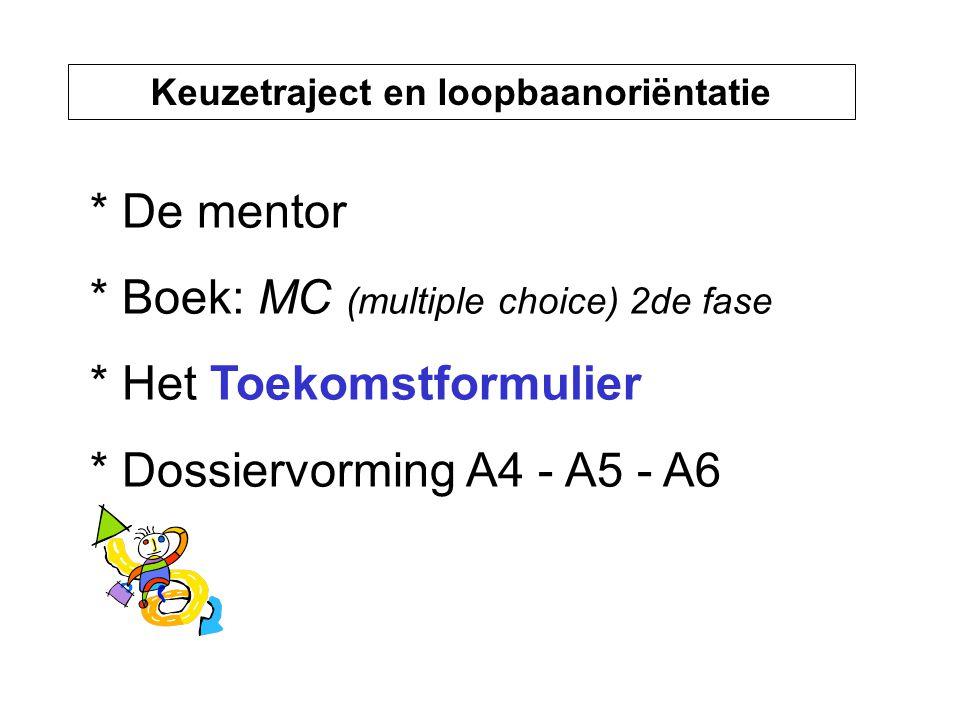 Keuzetraject en loopbaanoriëntatie * De mentor * Boek: MC (multiple choice) 2de fase * Het Toekomstformulier * Dossiervorming A4 - A5 - A6