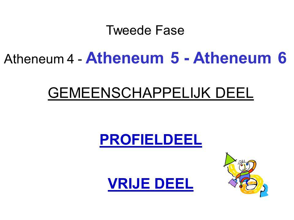 Tweede Fase Atheneum 4 - Atheneum 5 - Atheneum 6 GEMEENSCHAPPELIJK DEEL PROFIELDEEL VRIJE DEEL