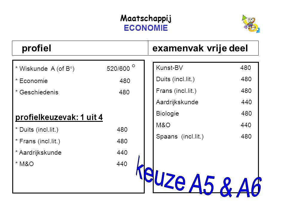 Maatschappij ECONOMIE profiel examenvak vrije deel * Wiskunde A (of B  ) 520/600  * Economie 480 * Geschiedenis 480 profielkeuzevak: 1 uit 4 * Duits (incl.lit.) 480 * Frans (incl.lit.) 480 * Aardrijkskunde 440 * M&O 440 Kunst-BV 480 Duits (incl.lit.) 480 Frans (incl.lit.) 480 Aardrijkskunde 440 Biologie 480 M&O 440 Spaans (incl.lit.) 480