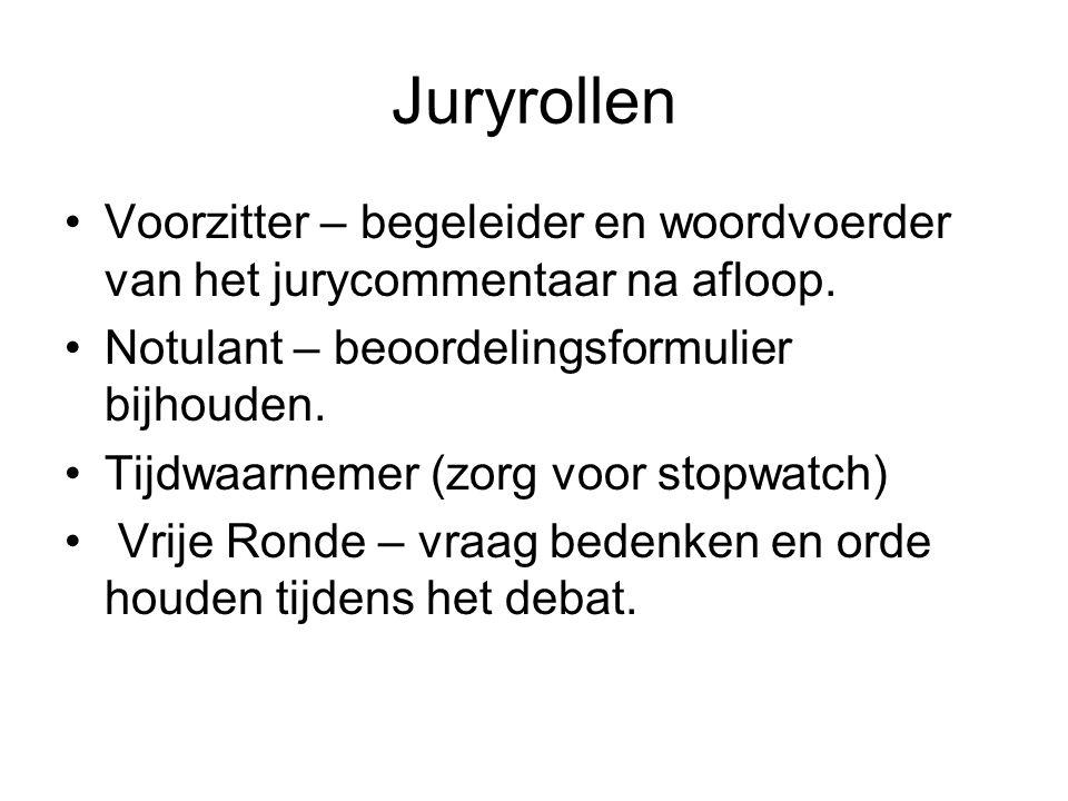 Juryrollen Voorzitter – begeleider en woordvoerder van het jurycommentaar na afloop. Notulant – beoordelingsformulier bijhouden. Tijdwaarnemer (zorg v