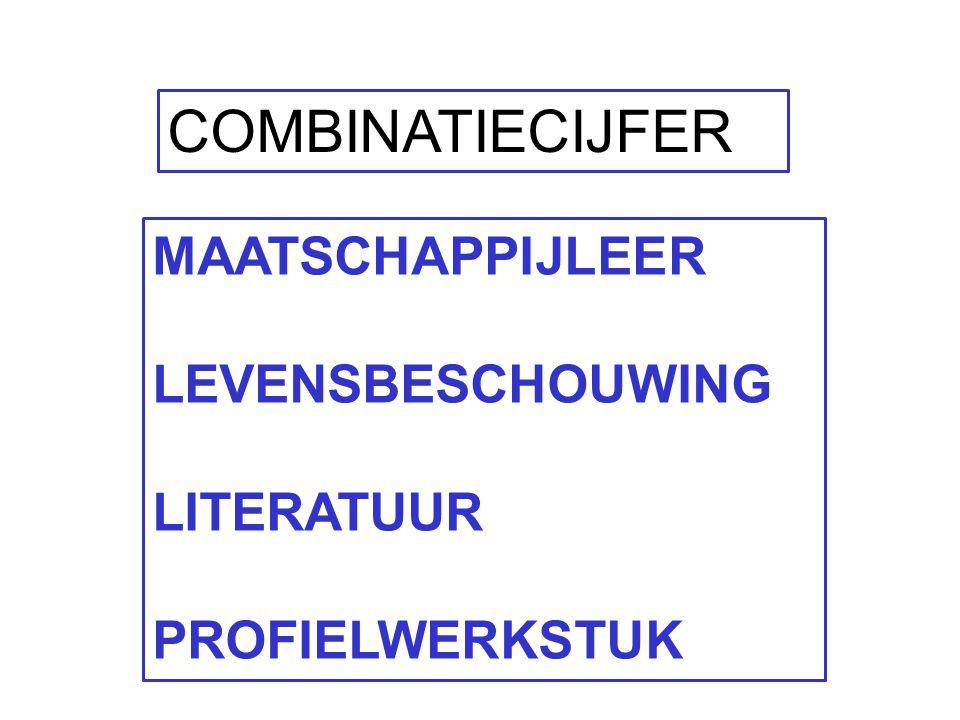 COMBINATIECIJFER MAATSCHAPPIJLEER LEVENSBESCHOUWING LITERATUUR PROFIELWERKSTUK