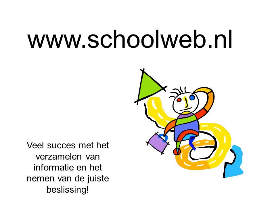 www.schoolweb.nl Veel succes met het verzamelen van informatie en het nemen van de juiste beslissing!