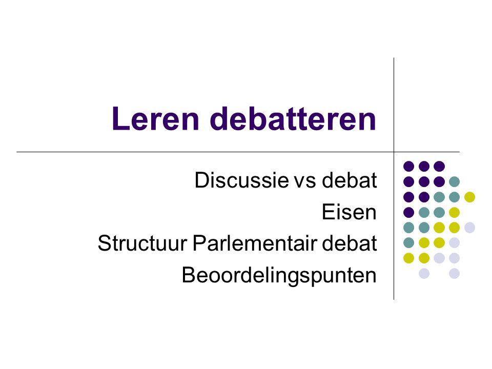 Leren debatteren Discussie vs debat Eisen Structuur Parlementair debat Beoordelingspunten