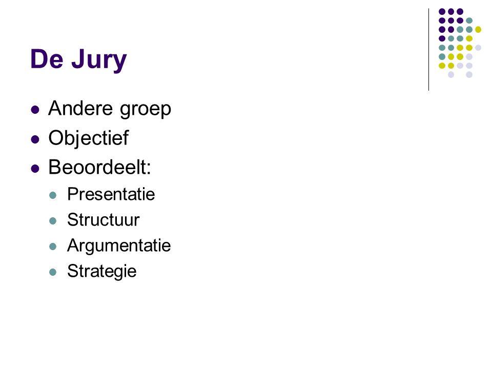 De Jury Andere groep Objectief Beoordeelt: Presentatie Structuur Argumentatie Strategie