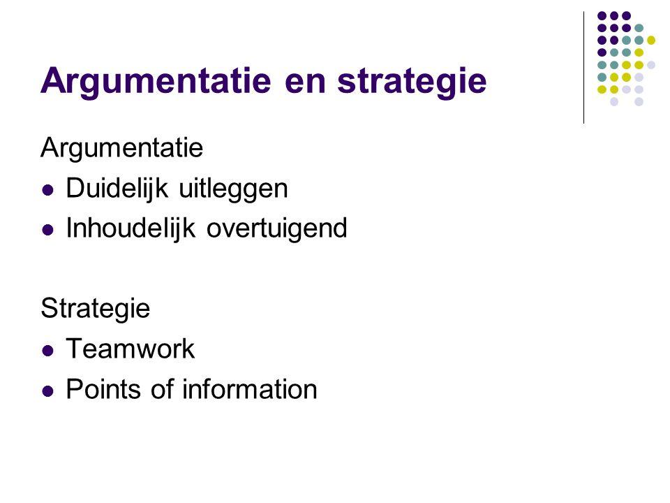 Argumentatie en strategie Argumentatie Duidelijk uitleggen Inhoudelijk overtuigend Strategie Teamwork Points of information