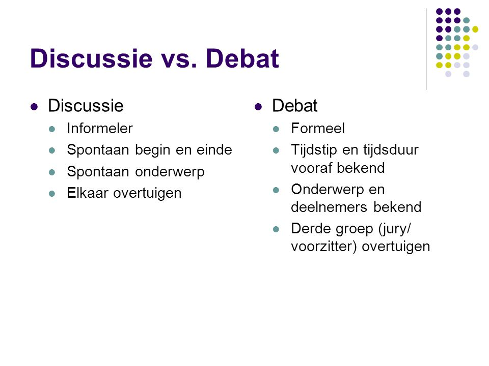 Discussie vs.