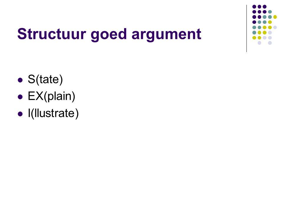 Structuur goed argument S(tate) EX(plain) I(llustrate)