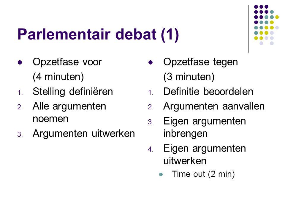 Parlementair debat (1) Opzetfase voor (4 minuten) 1. Stelling definiëren 2. Alle argumenten noemen 3. Argumenten uitwerken Opzetfase tegen (3 minuten)