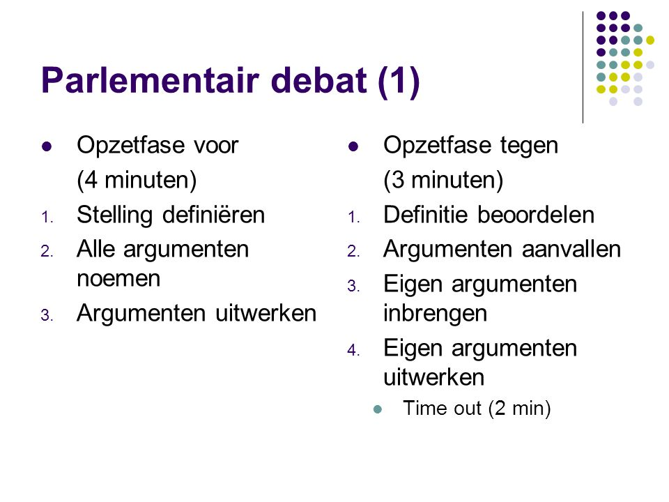 Parlementair debat (2) Verweerfase voor (3 minuten) 1.