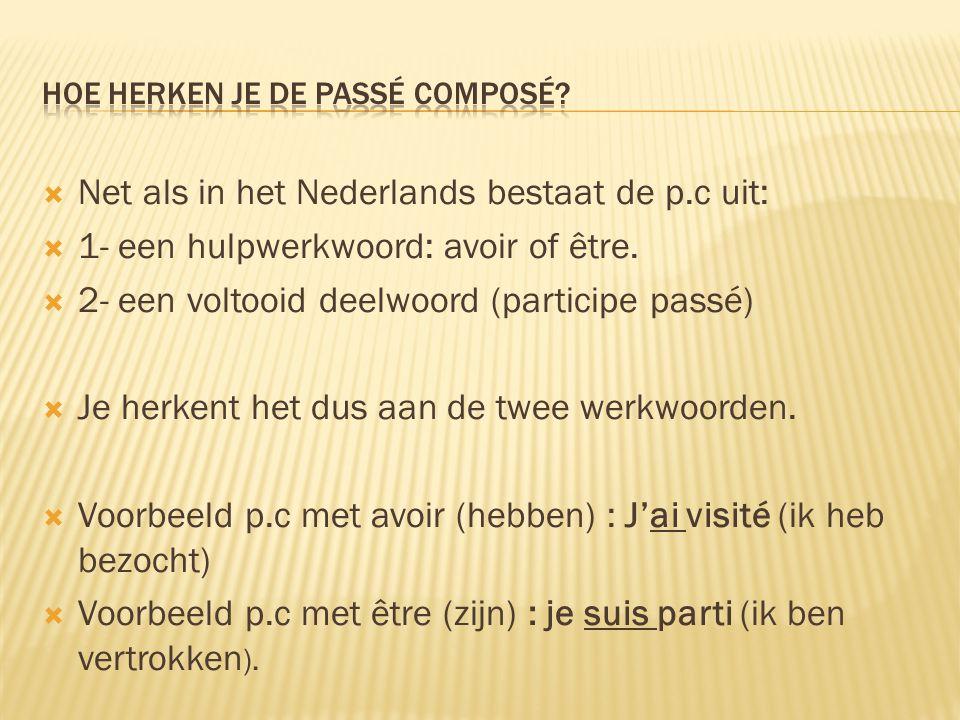  Net als in het Nederlands bestaat de p.c uit:  1- een hulpwerkwoord: avoir of être.  2- een voltooid deelwoord (participe passé)  Je herkent het