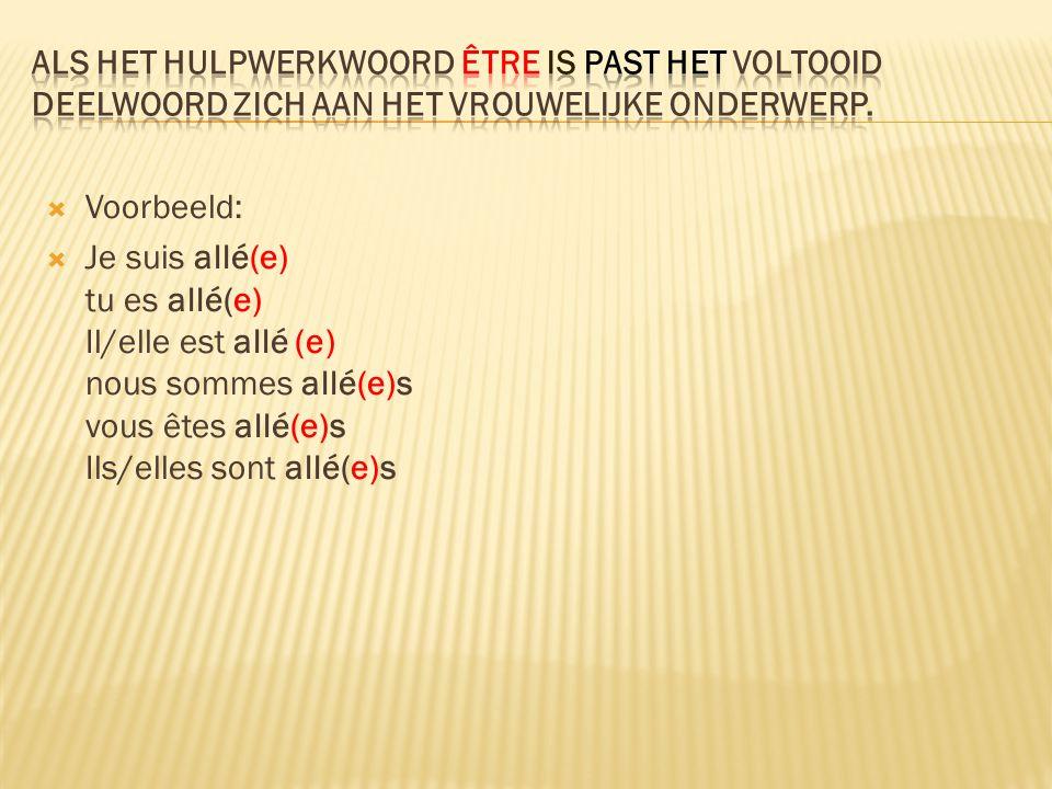  Er zijn veel werkwoorden in het Nederlands die met 'zijn' worden vervoegd terwijl het Franse werkwoord met 'avoir' gaat:  Bijv.