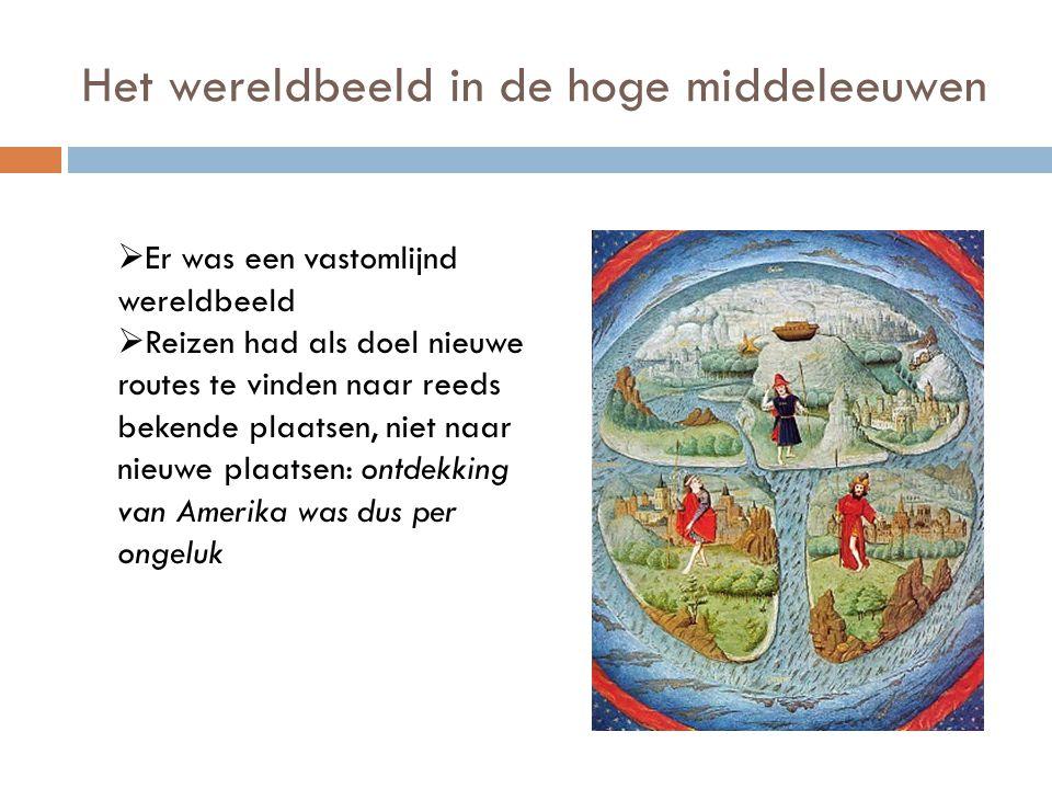 Het wereldbeeld in de hoge middeleeuwen  Er was een vastomlijnd wereldbeeld  Reizen had als doel nieuwe routes te vinden naar reeds bekende plaatsen