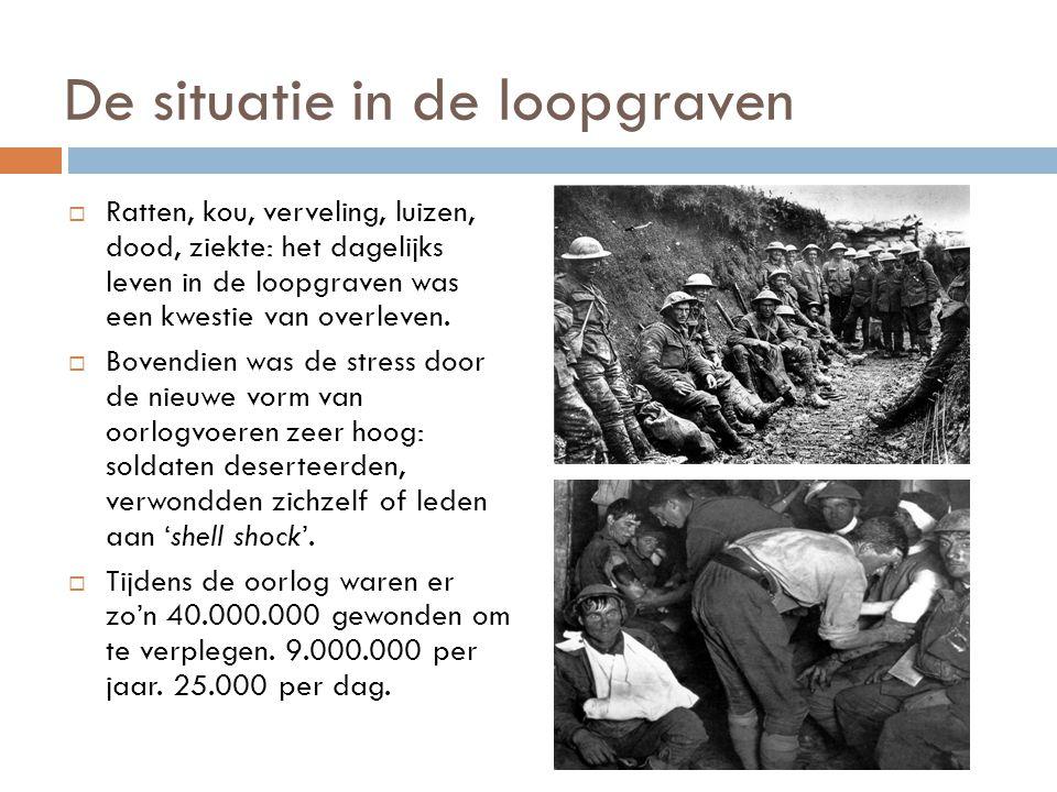 De situatie in de loopgraven  Ratten, kou, verveling, luizen, dood, ziekte: het dagelijks leven in de loopgraven was een kwestie van overleven.  Bov