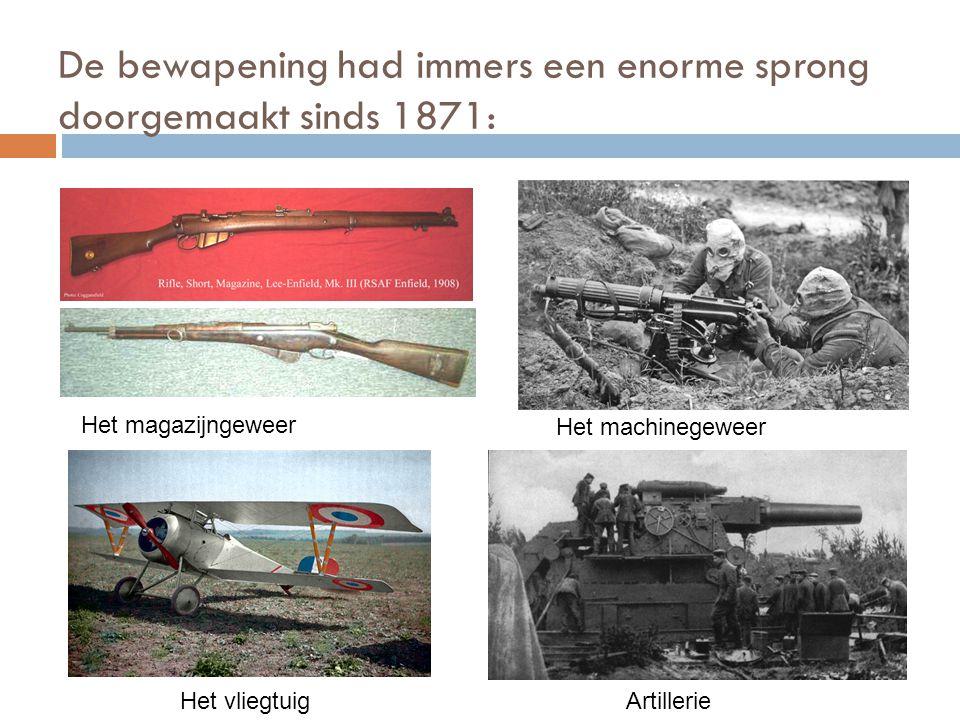 De bewapening had immers een enorme sprong doorgemaakt sinds 1871: Het magazijngeweer Het machinegeweer ArtillerieHet vliegtuig