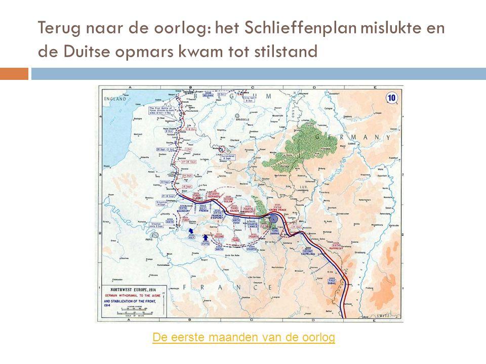 Terug naar de oorlog: het Schlieffenplan mislukte en de Duitse opmars kwam tot stilstand De eerste maanden van de oorlog