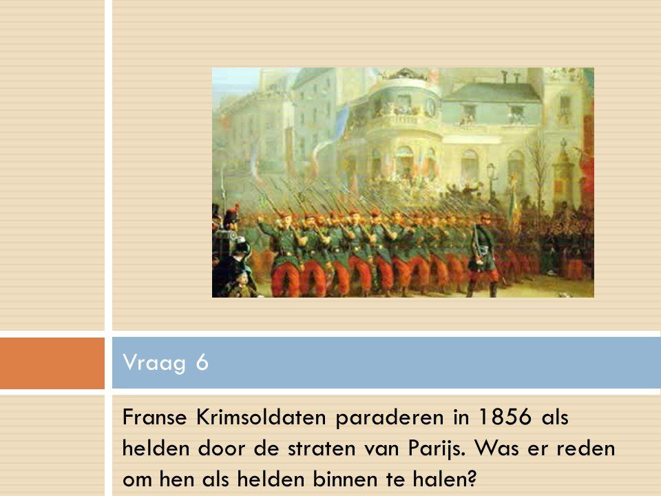 Franse Krimsoldaten paraderen in 1856 als helden door de straten van Parijs.