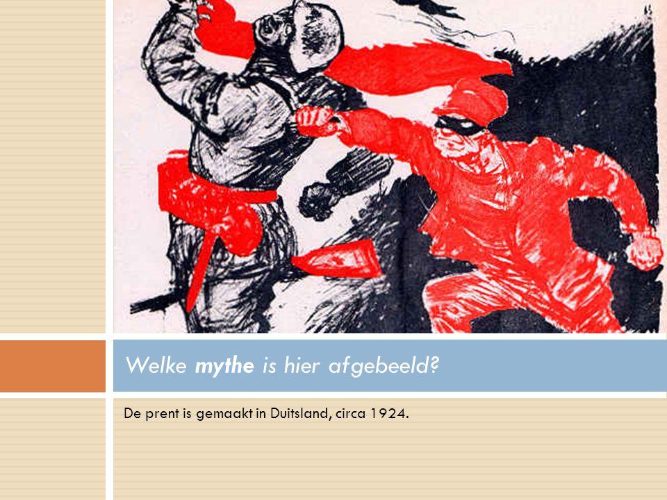 De prent is gemaakt in Duitsland, circa 1924. Welke mythe is hier afgebeeld?