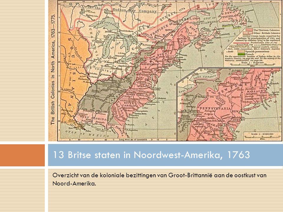 Overzicht van de koloniale bezittingen van Groot-Brittannië aan de oostkust van Noord-Amerika.