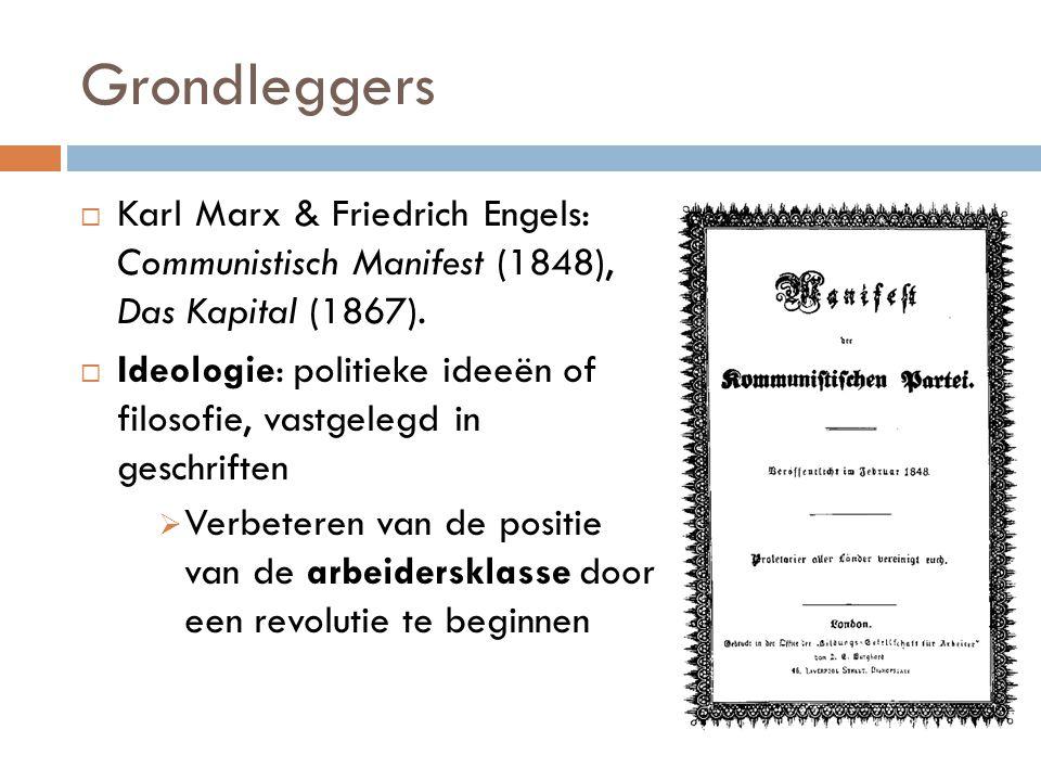  Karl Marx & Friedrich Engels: Communistisch Manifest (1848), Das Kapital (1867).  Ideologie: politieke ideeën of filosofie, vastgelegd in geschrift