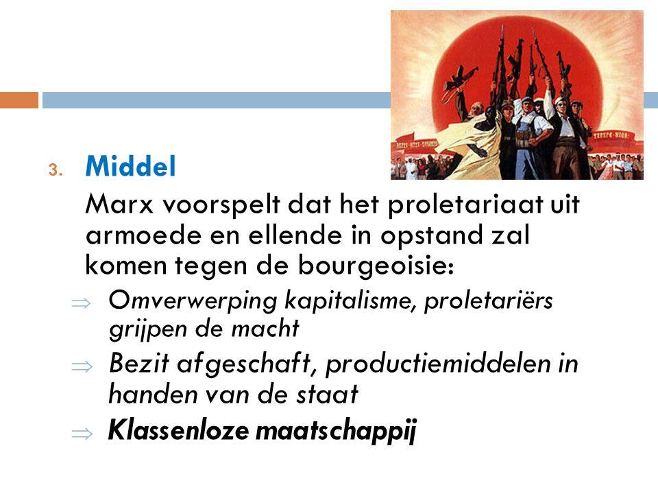 3. Middel Marx voorspelt dat het proletariaat uit armoede en ellende in opstand zal komen tegen de bourgeoisie:  Omverwerping kapitalisme, proletarië