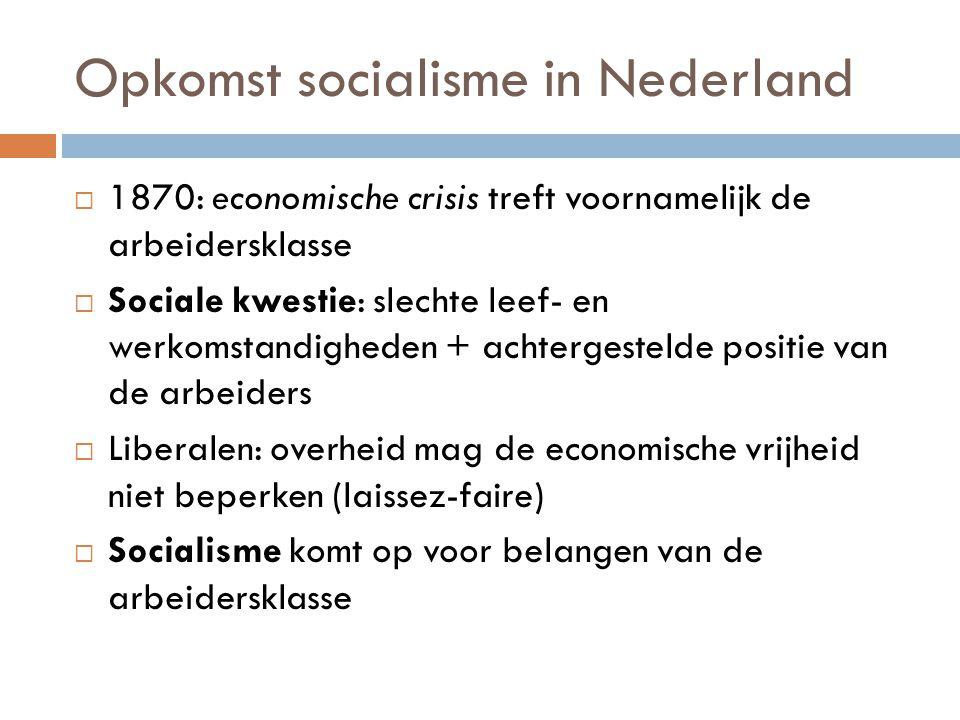 Opkomst socialisme in Nederland  1870: economische crisis treft voornamelijk de arbeidersklasse  Sociale kwestie: slechte leef- en werkomstandighede