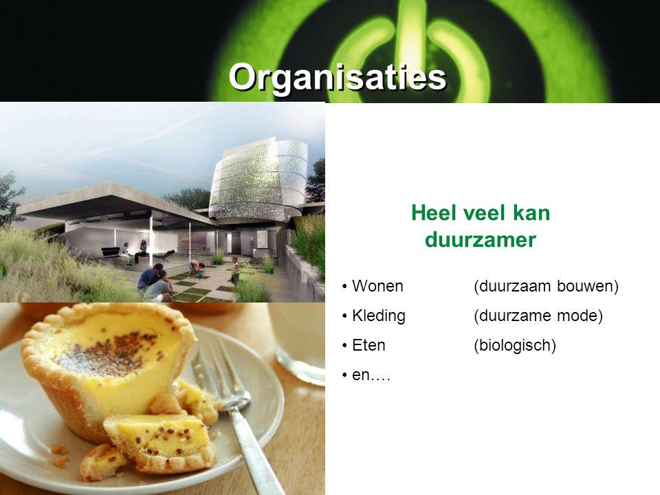 Organisaties Wonen (duurzaam bouwen) Kleding (duurzame mode) Eten (biologisch) en…. Heel veel kan duurzamer
