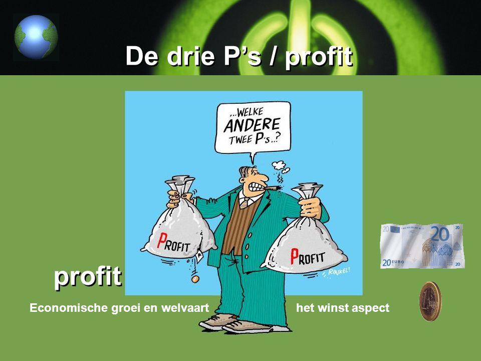 De drie P's / profit Economische groei en welvaart het winst aspect profit