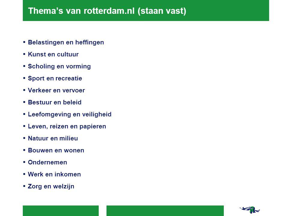 Thema's van rotterdam.nl (staan vast)  Belastingen en heffingen  Kunst en cultuur  Scholing en vorming  Sport en recreatie  Verkeer en vervoer  Bestuur en beleid  Leefomgeving en veiligheid  Leven, reizen en papieren  Natuur en milieu  Bouwen en wonen  Ondernemen  Werk en inkomen  Zorg en welzijn