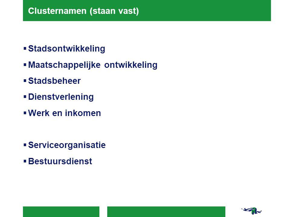 Clusternamen (staan vast)  Stadsontwikkeling  Maatschappelijke ontwikkeling  Stadsbeheer  Dienstverlening  Werk en inkomen  Serviceorganisatie  Bestuursdienst