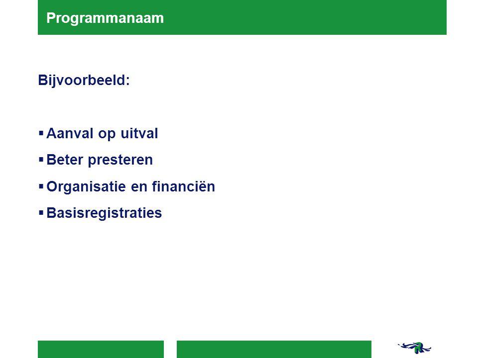 Programmanaam Bijvoorbeeld:  Aanval op uitval  Beter presteren  Organisatie en financiën  Basisregistraties