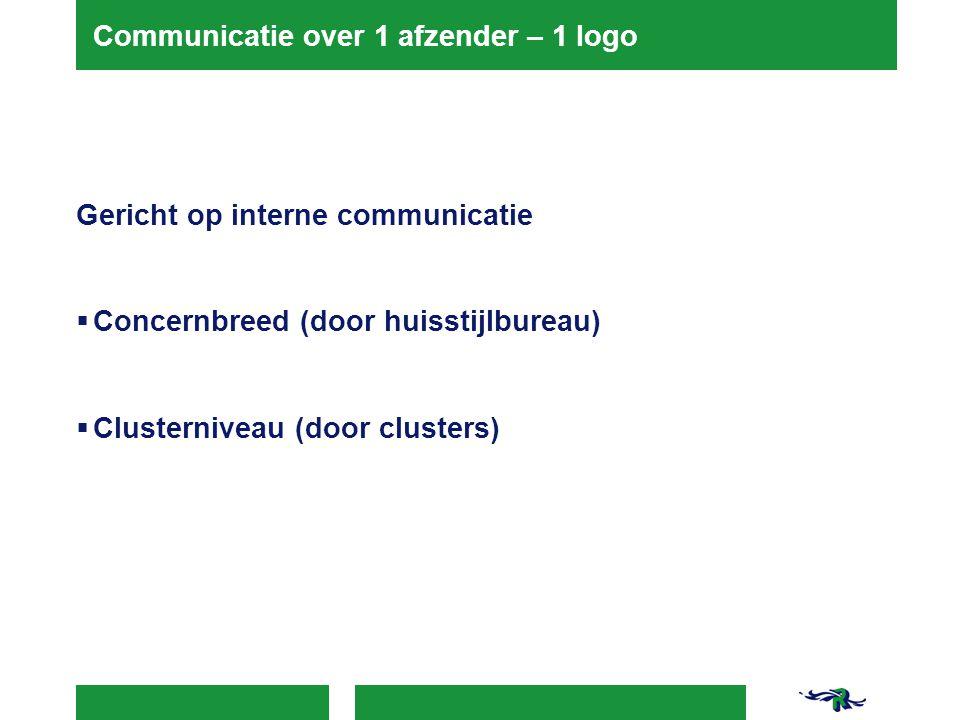 Communicatie over 1 afzender – 1 logo Gericht op interne communicatie  Concernbreed (door huisstijlbureau)  Clusterniveau (door clusters)