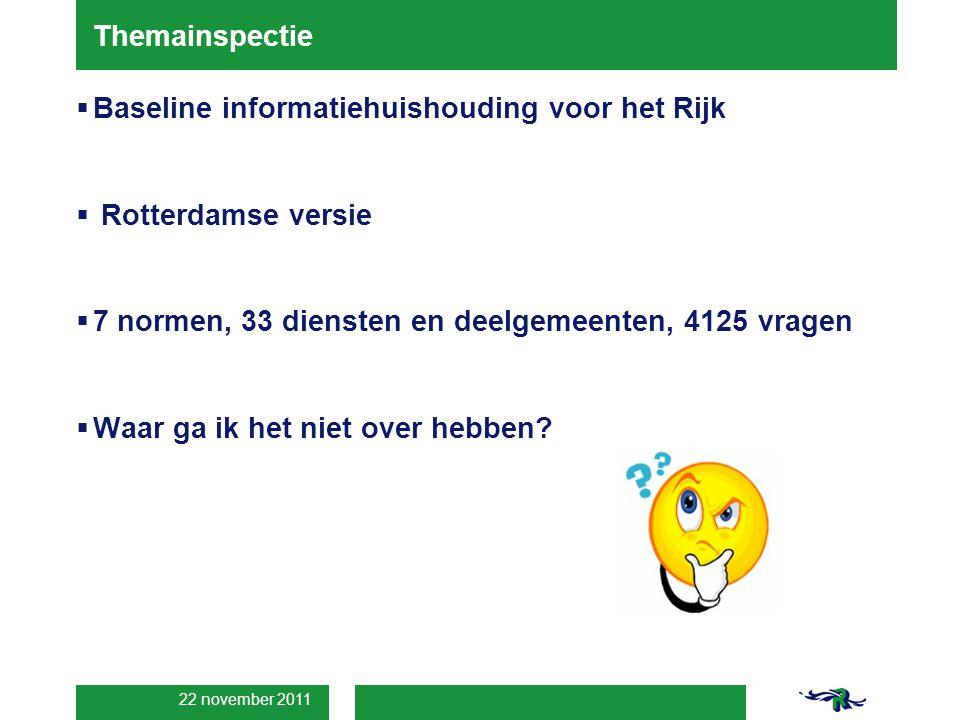 22 november 2011 Themainspectie  Baseline informatiehuishouding voor het Rijk  Rotterdamse versie  7 normen, 33 diensten en deelgemeenten, 4125 vragen  Waar ga ik het niet over hebben?