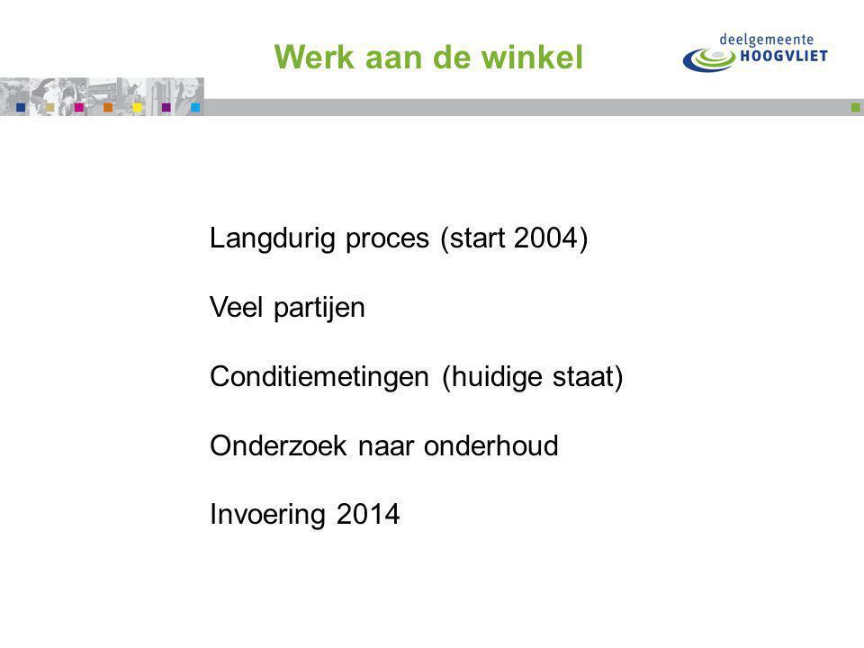 Flink doortrappen met Werk aan de winkel Langdurig proces (start 2004) Veel partijen Conditiemetingen (huidige staat) Onderzoek naar onderhoud Invoering 2014