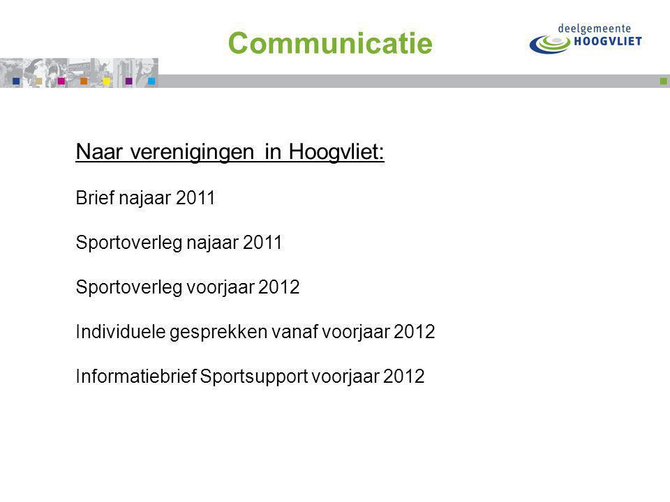 Flink doortrappen met Communicatie Naar verenigingen in Hoogvliet: Brief najaar 2011 Sportoverleg najaar 2011 Sportoverleg voorjaar 2012 Individuele gesprekken vanaf voorjaar 2012 Informatiebrief Sportsupport voorjaar 2012