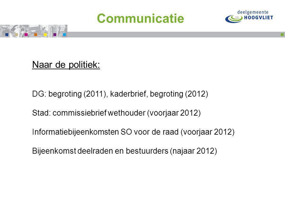 Flink doortrappen met Communicatie Naar de politiek: DG: begroting (2011), kaderbrief, begroting (2012) Stad: commissiebrief wethouder (voorjaar 2012)