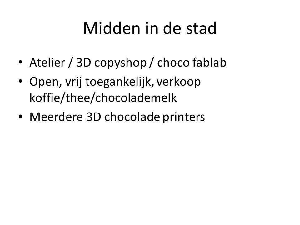Midden in de stad Atelier / 3D copyshop / choco fablab Open, vrij toegankelijk, verkoop koffie/thee/chocolademelk Meerdere 3D chocolade printers
