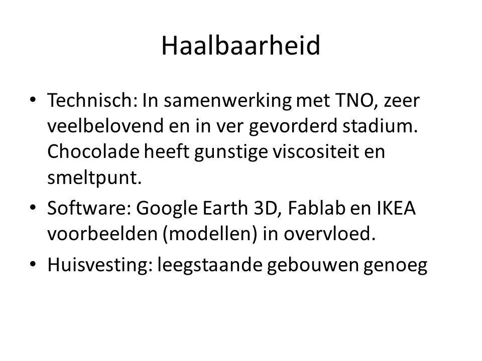 Haalbaarheid Technisch: In samenwerking met TNO, zeer veelbelovend en in ver gevorderd stadium.