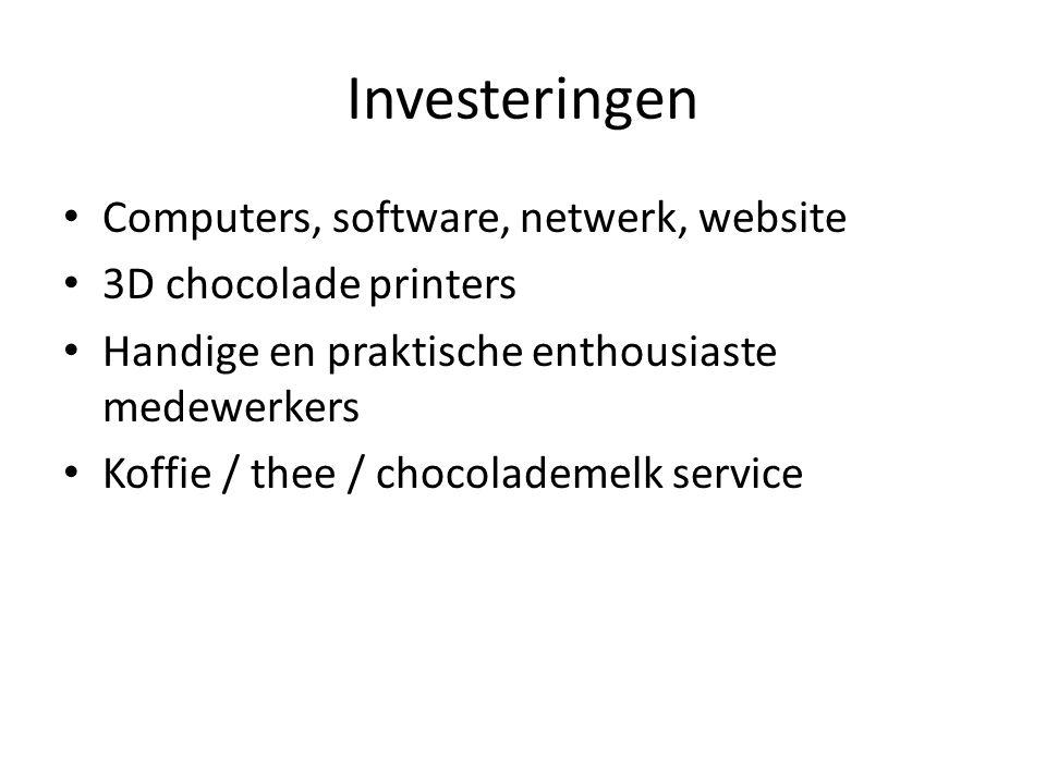 Investeringen Computers, software, netwerk, website 3D chocolade printers Handige en praktische enthousiaste medewerkers Koffie / thee / chocolademelk service
