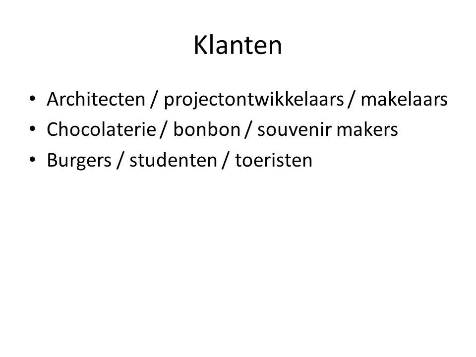 Klanten Architecten / projectontwikkelaars / makelaars Chocolaterie / bonbon / souvenir makers Burgers / studenten / toeristen