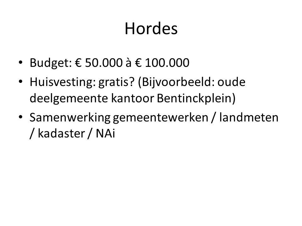 Hordes Budget: € 50.000 à € 100.000 Huisvesting: gratis.