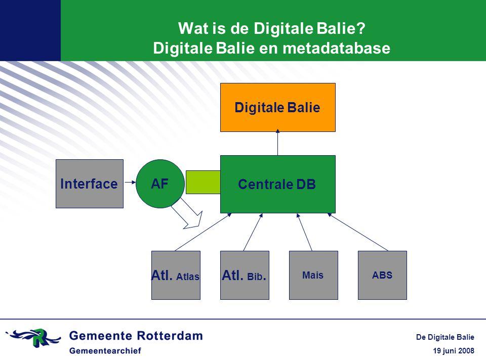 19 juni 2008 De Digitale Balie Wat is de Digitale Balie? Digitale Balie en metadatabase Centrale DB Atl. Atlas Atl. Bib. MaisABS Digitale Balie AFInte