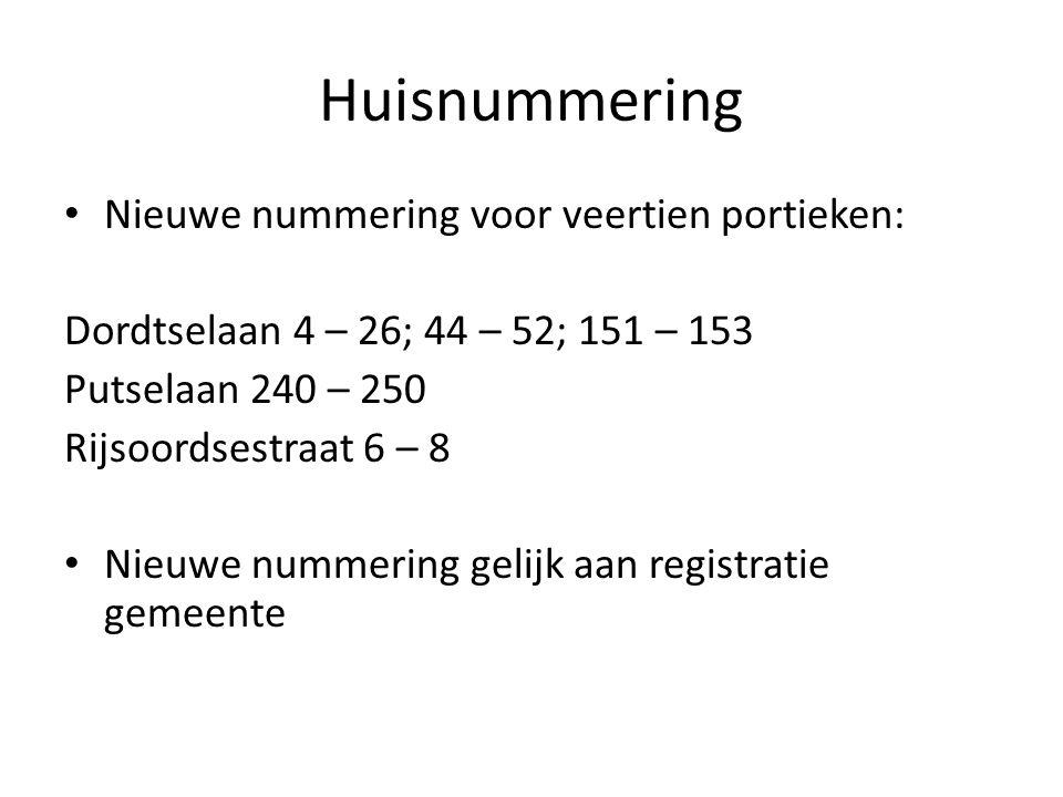 Huisnummering Nieuwe nummering voor veertien portieken: Dordtselaan 4 – 26; 44 – 52; 151 – 153 Putselaan 240 – 250 Rijsoordsestraat 6 – 8 Nieuwe nummering gelijk aan registratie gemeente
