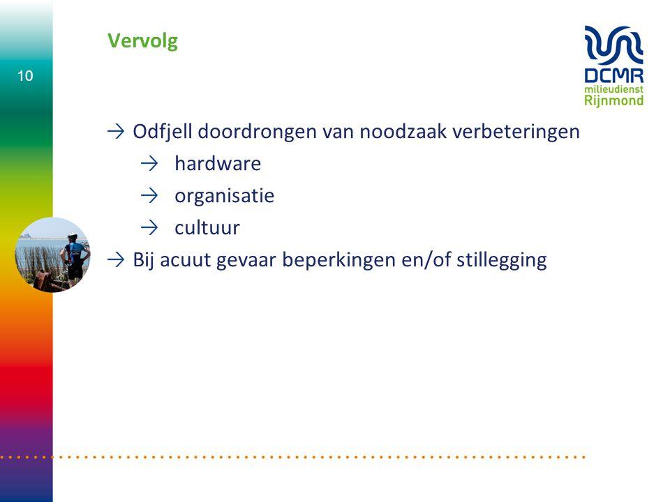 Vervolg Odfjell doordrongen van noodzaak verbeteringen hardware organisatie cultuur Bij acuut gevaar beperkingen en/of stillegging 10