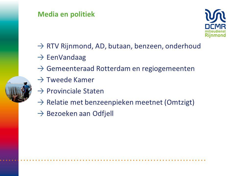 Media en politiek RTV Rijnmond, AD, butaan, benzeen, onderhoud EenVandaag Gemeenteraad Rotterdam en regiogemeenten Tweede Kamer Provinciale Staten Rel